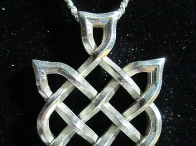 Nikki's Knot  3d printed 3D Print in Silver-Front of pendant