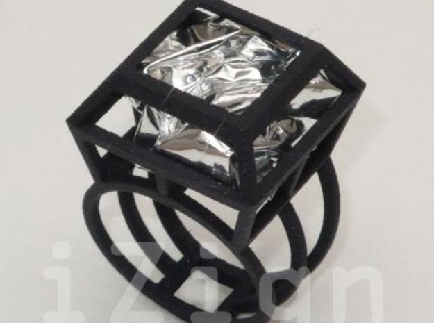 ring06 19 3d printed Black Strong & Flexible dressed up with a silver wrapper (not included)