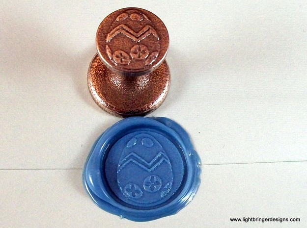 Easter Egg Wax Seal 3d printed The seal and wax impression in Light Blue premium sealing wax.