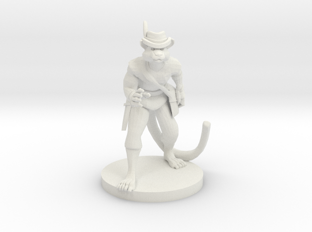 Caterday McPaws the Catfolk Rogue in White Natural Versatile Plastic
