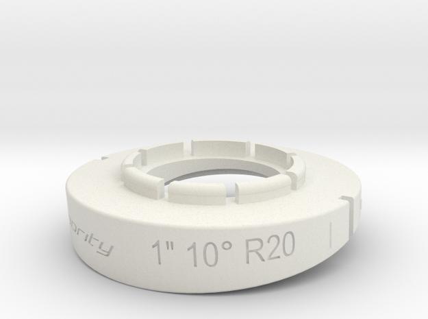 pie cut 1inch 10deg R20mm in White Strong & Flexible