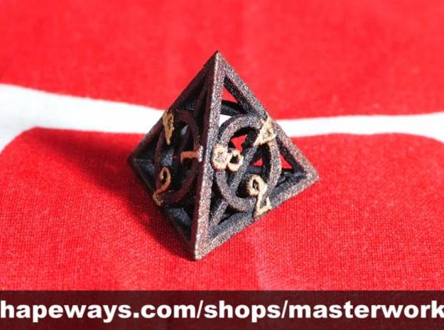 Deathly Hallows d4 3d printed Plastic with Copper & Gold Rub'n'Buff