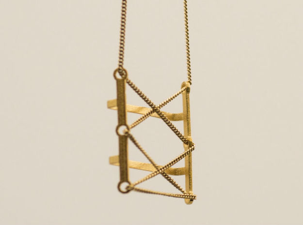 Laces_Pendant in Polished Gold Steel
