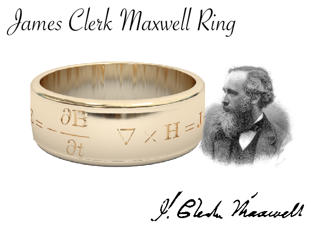 James Clerk Maxwell Ring in Polished Bronzed Silver Steel: 11 / 64