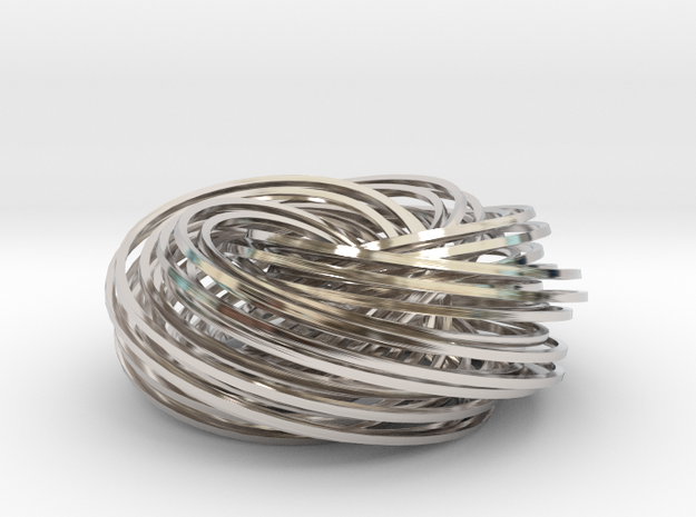 Torus Knot Knot 2 in Rhodium Plated Brass