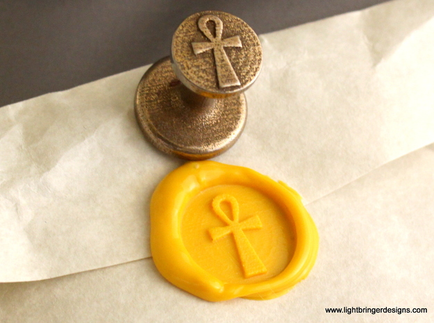 Ankh Wax Seal in Polished Bronzed Silver Steel