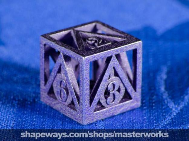 Deathly Hallows d6 in Polished Bronzed Silver Steel