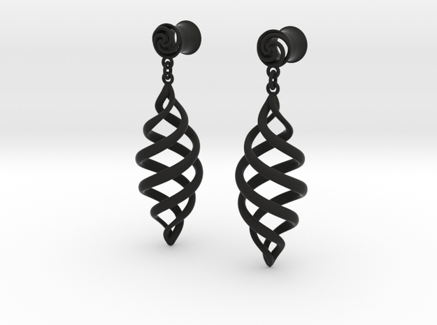 Spiral With Drop 0g in Black Natural Versatile Plastic