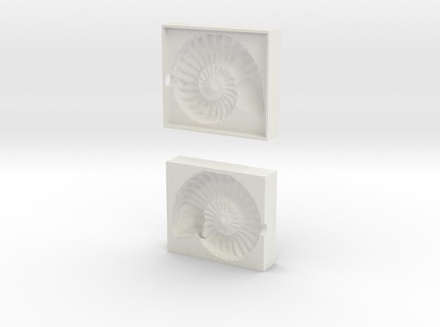 Ammonite Mold in White Natural Versatile Plastic