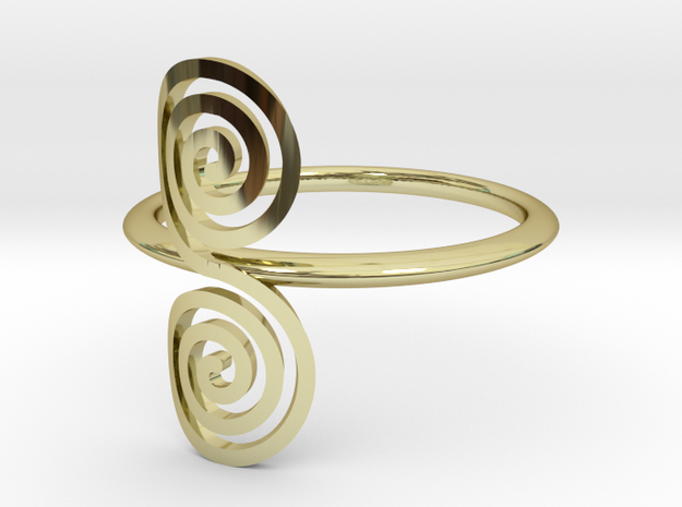 """Celtic """"life and death"""" small spiral ring in 18k Gold Plated Brass"""