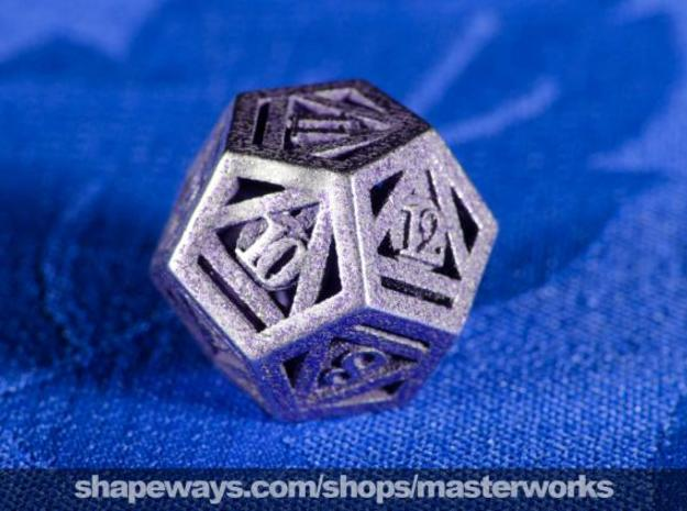 Deathly Hallows d12 in Polished Bronzed Silver Steel