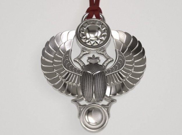 Winged Scarab  pendant Classic in Raw Silver