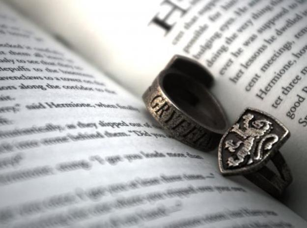 Gryffindor Ring Size 8 in Polished Bronzed Silver Steel