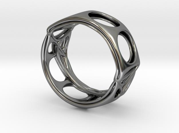 Voronoi Alphabet Bracelet 65mm (002) in Premium Silver