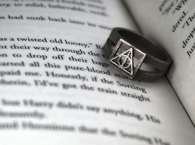 Deathly Hallows Ring Size 6 in Polished Bronzed Silver Steel