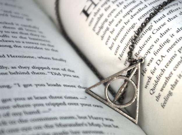 Deathly Hallows Necklace - Medium in Polished Bronzed Silver Steel