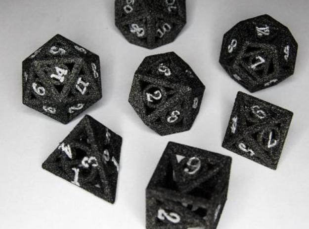 Deathly Hallows Dice Set 3d printed Alumide Dyed Black And Lettered With Silver Paint