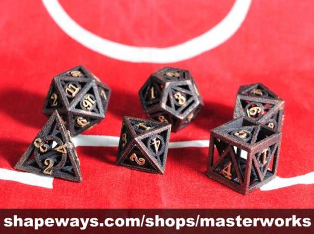 Deathly Hallows Dice Set noD00 3d printed Plastic with Copper & Gold Rub'n'Buff