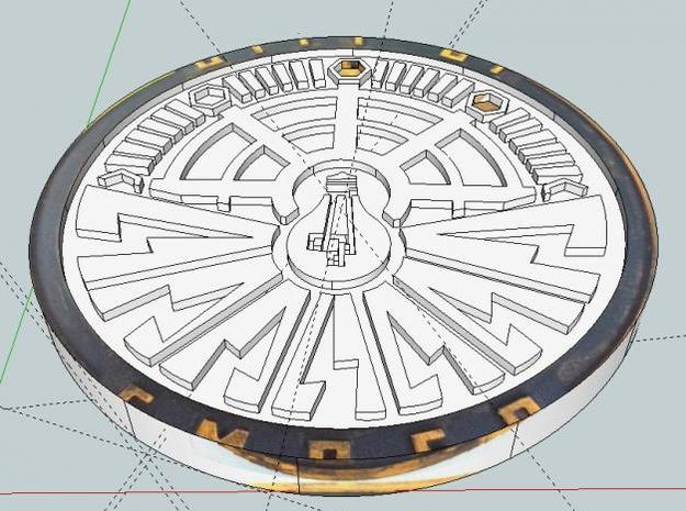City of Ember Coin 2.5mm thick 0.5mm engraving 3d printed Original 3D Render