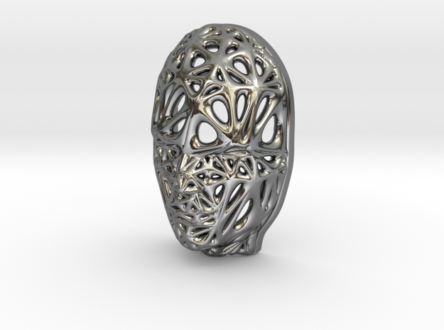 Miniature Female Voronoi Face in Fine Detail Polished Silver