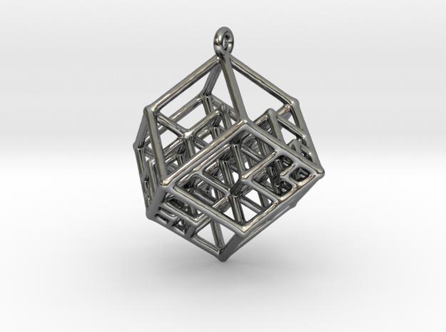 Tesseract Earrings in Fine Detail Polished Silver