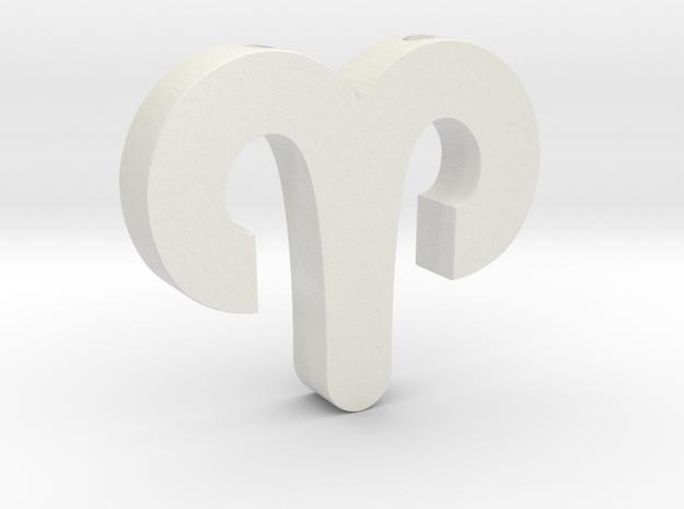 Aries Symbol Pendant in White Natural Versatile Plastic