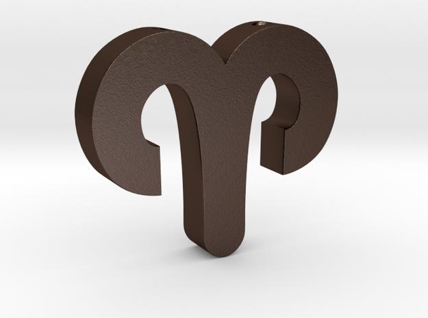 Aries Symbol Pendant in Matte Bronze Steel