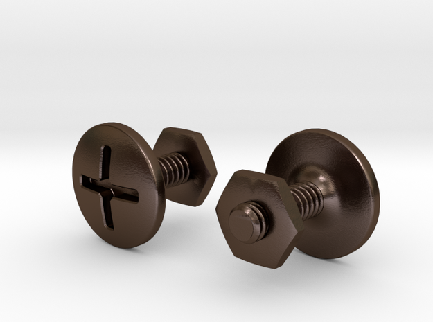 Screw cuff links in Polished Bronze Steel