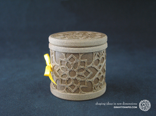 Gift Box round No. 1 with Mosaik-2 (solid, high) in White Natural Versatile Plastic