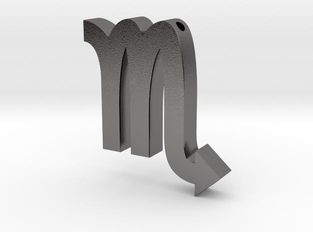 Scorpio Symbol Pendant in Polished Nickel Steel