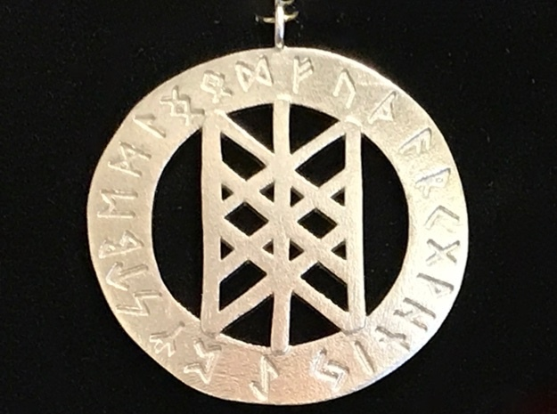Rune Pendant - Web of the Wyrd in Natural Silver