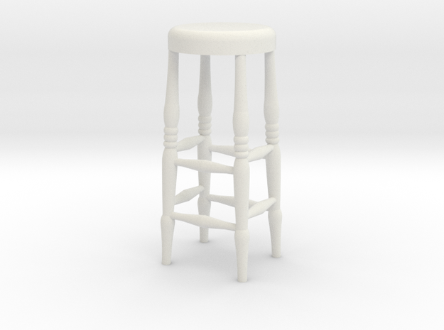 Bar Stool in White Natural Versatile Plastic