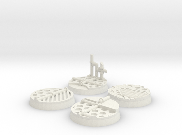 Sci-fi 25mm bases in White Strong & Flexible