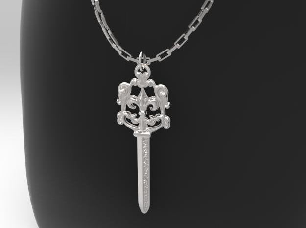 Sword Pendant (knife) in Rhodium Plated Brass