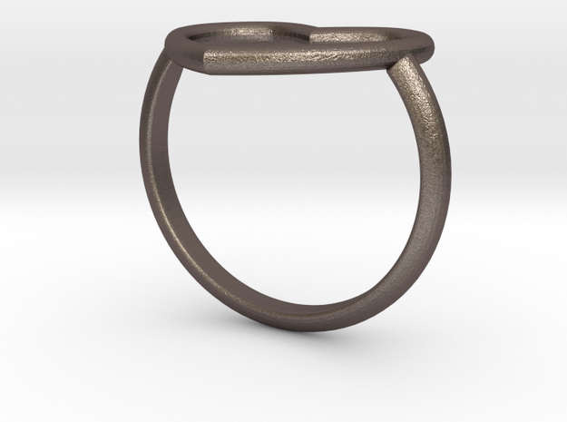Heart Ring 17mm Cuore Sottile Forato in Polished Bronzed Silver Steel