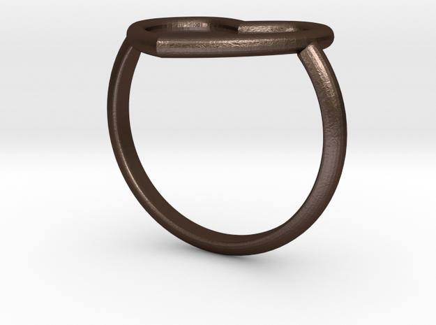 Heart Ring 17mm Cuore Sottile Forato in Matte Bronze Steel