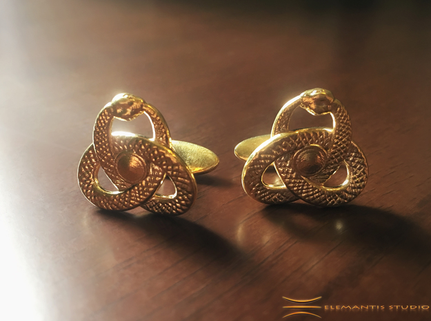 Ouroboros Triquetra Cufflinks  in Natural Brass