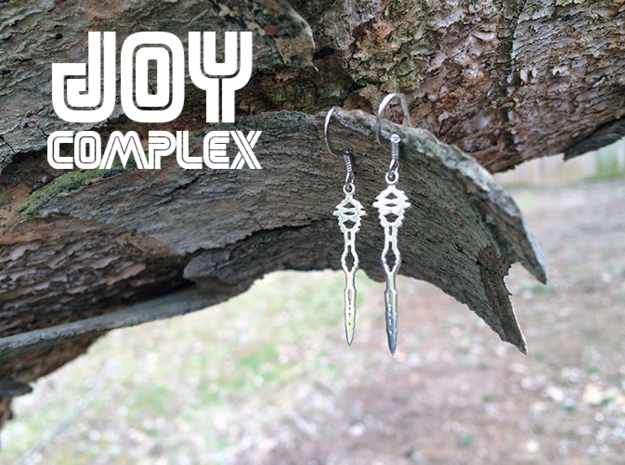 """I Love You"" Sound Wave Earrings 3d printed I Love You Earrings in Premium Silver with Platinum Plated Ear Hooks"