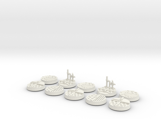 10x 25mm Industrial Base in White Strong & Flexible