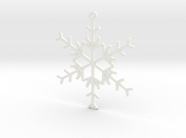 6 Point Snowflake Ornament in White Processed Versatile Plastic