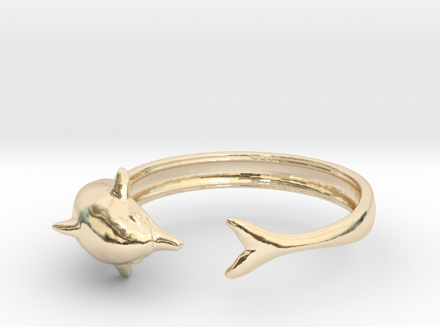 Dolphin Ring in 14k Gold Plated Brass