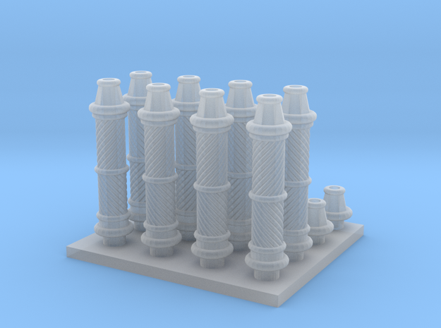 Decorative Column parts in Smooth Fine Detail Plastic