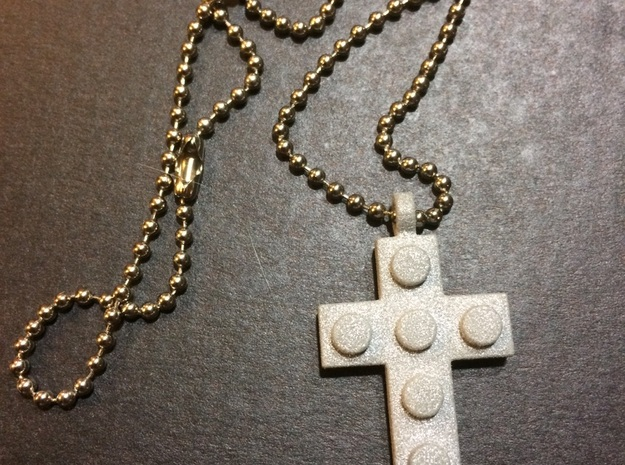 Brick Cross Thin in Polished Gold Steel