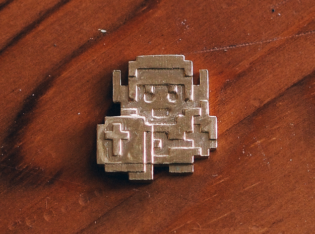 Link 8bit pin face in Natural Brass