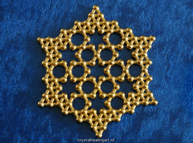 Merkaba Koch Fractal Snowflake in Polished Gold Steel
