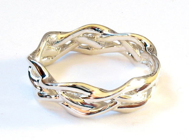 'Swoop' Braid Ring, size 8.25 in Premium Silver