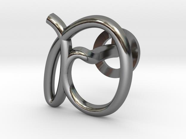 Cursive D Cufflink in Fine Detail Polished Silver