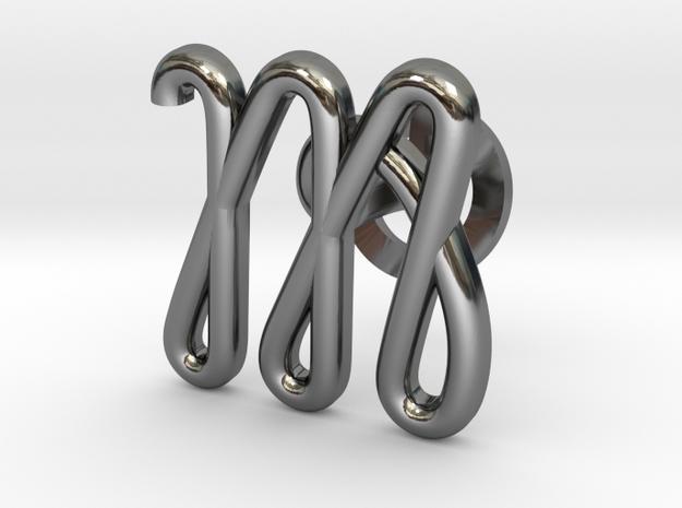 Cursive M Cufflink in Fine Detail Polished Silver