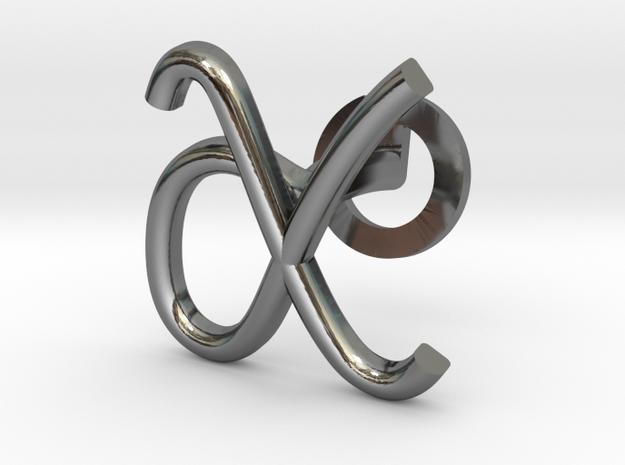 Cursive X Cufflink in Fine Detail Polished Silver