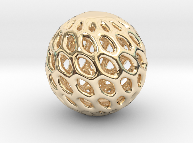 Cat Toy Ball in 14k Gold Plated Brass
